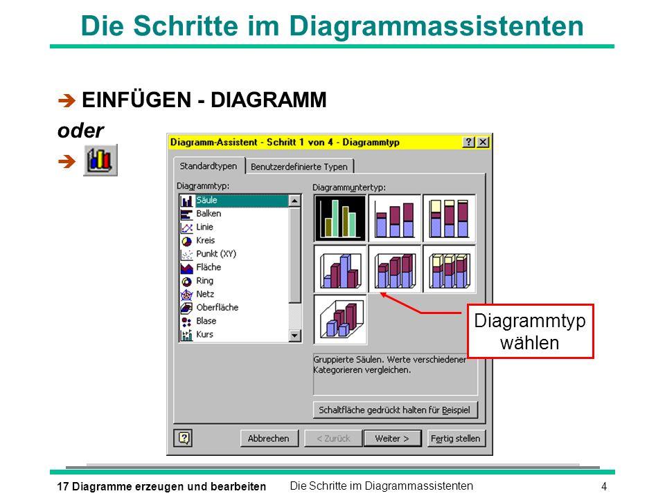 Die Schritte im Diagrammassistenten