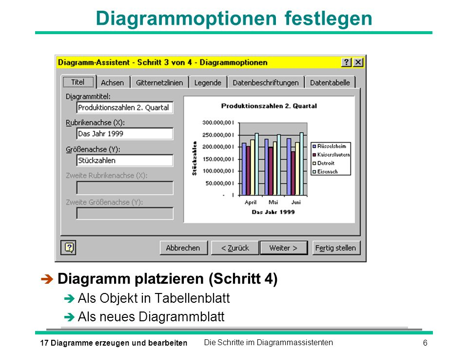 Diagrammoptionen festlegen