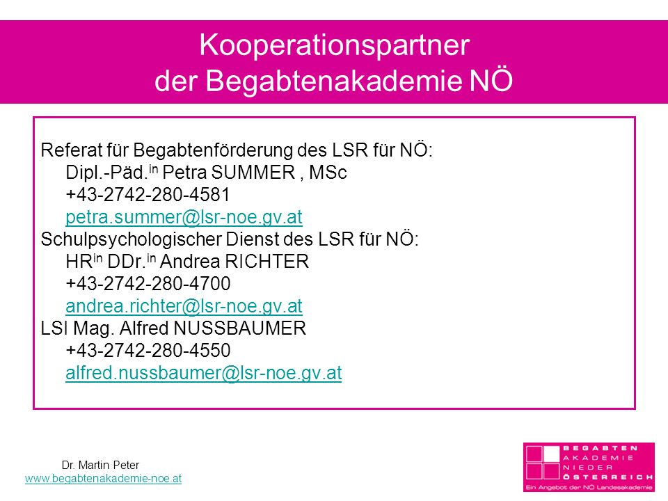 Kooperationspartner der Begabtenakademie NÖ