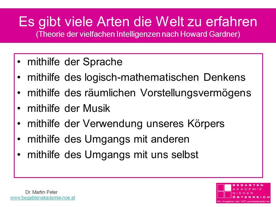 Es gibt viele Arten die Welt zu erfahren (Theorie der vielfachen Intelligenzen nach Howard Gardner)