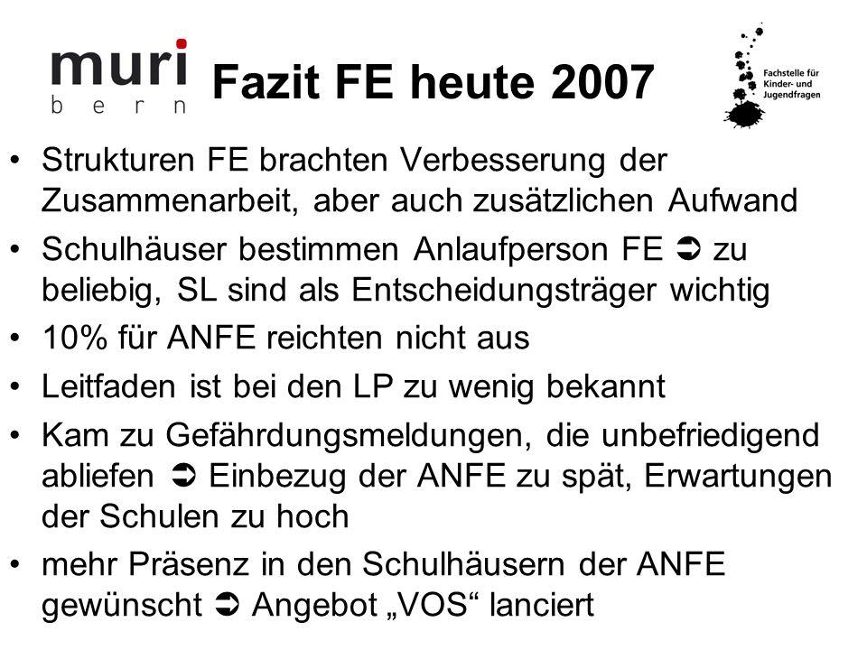 Fazit FE heute 2007 Strukturen FE brachten Verbesserung der Zusammenarbeit, aber auch zusätzlichen Aufwand.