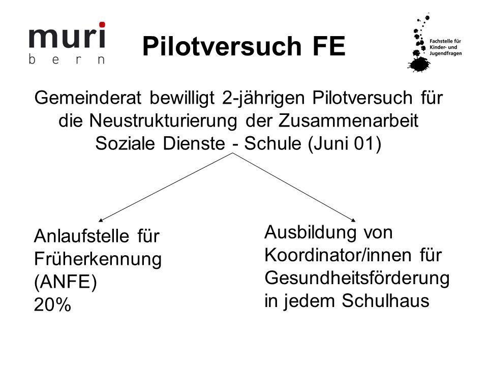 Pilotversuch FE Gemeinderat bewilligt 2-jährigen Pilotversuch für die Neustrukturierung der Zusammenarbeit Soziale Dienste - Schule (Juni 01)