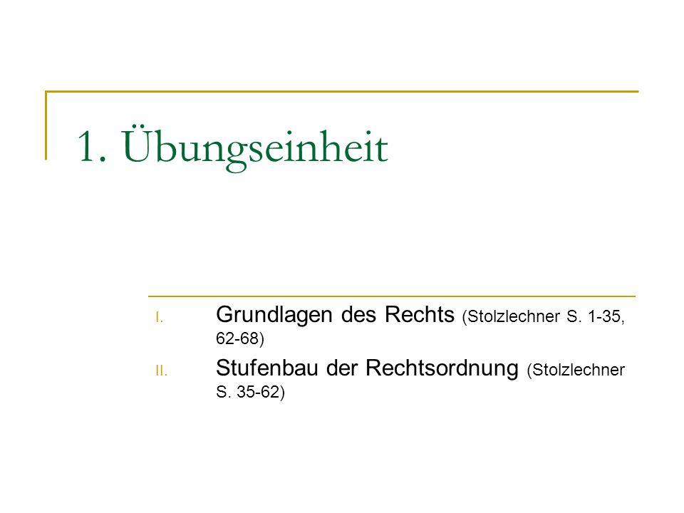 1. Übungseinheit Grundlagen des Rechts (Stolzlechner S. 1-35, 62-68)