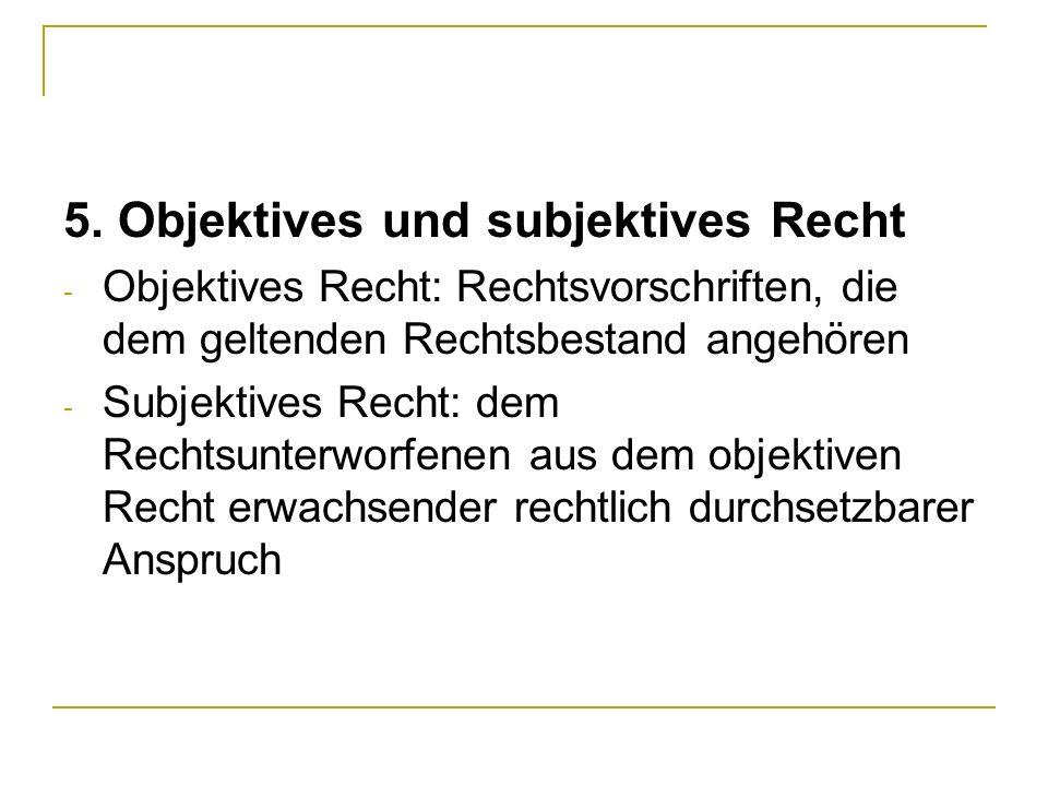 5. Objektives und subjektives Recht
