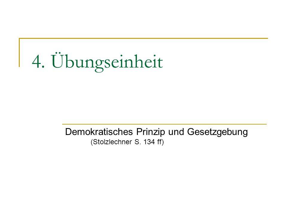 Demokratisches Prinzip und Gesetzgebung (Stolzlechner S. 134 ff)