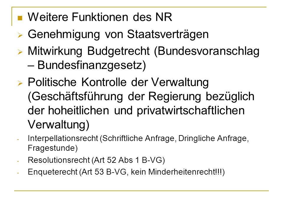 Weitere Funktionen des NR Genehmigung von Staatsverträgen