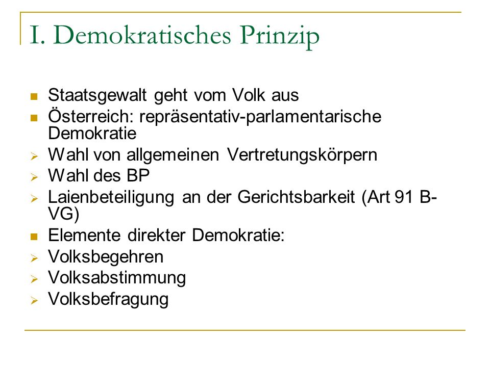 I. Demokratisches Prinzip