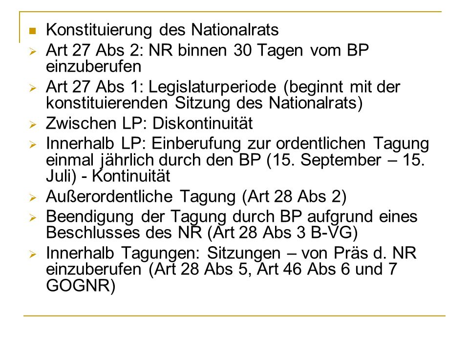 Konstituierung des Nationalrats