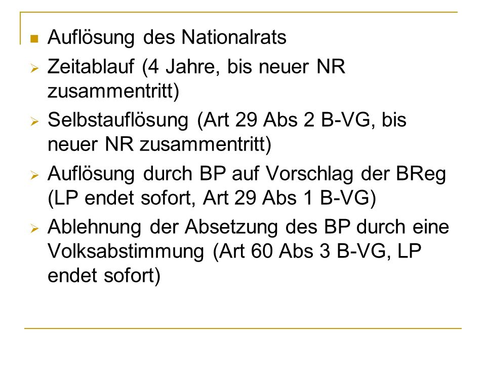 Auflösung des Nationalrats