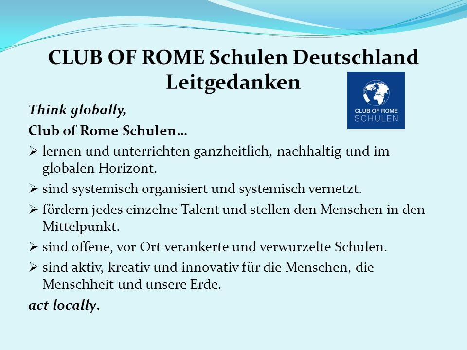 CLUB OF ROME Schulen Deutschland Leitgedanken