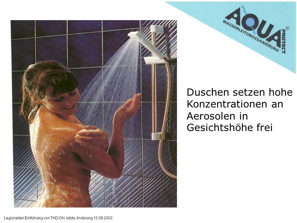 Duschen setzen hohe Konzentrationen an Aerosolen in Gesichtshöhe frei