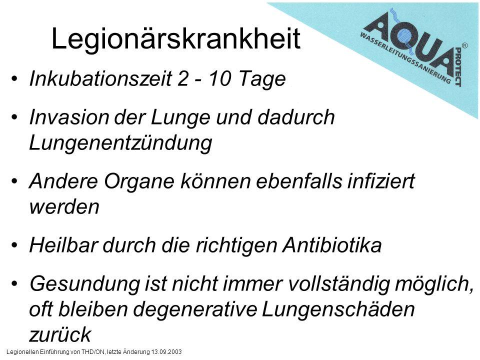 Legionärskrankheit Inkubationszeit 2 - 10 Tage
