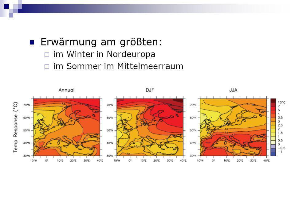 Erwärmung am größten: im Winter in Nordeuropa