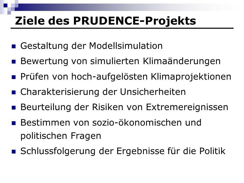 Ziele des PRUDENCE-Projekts