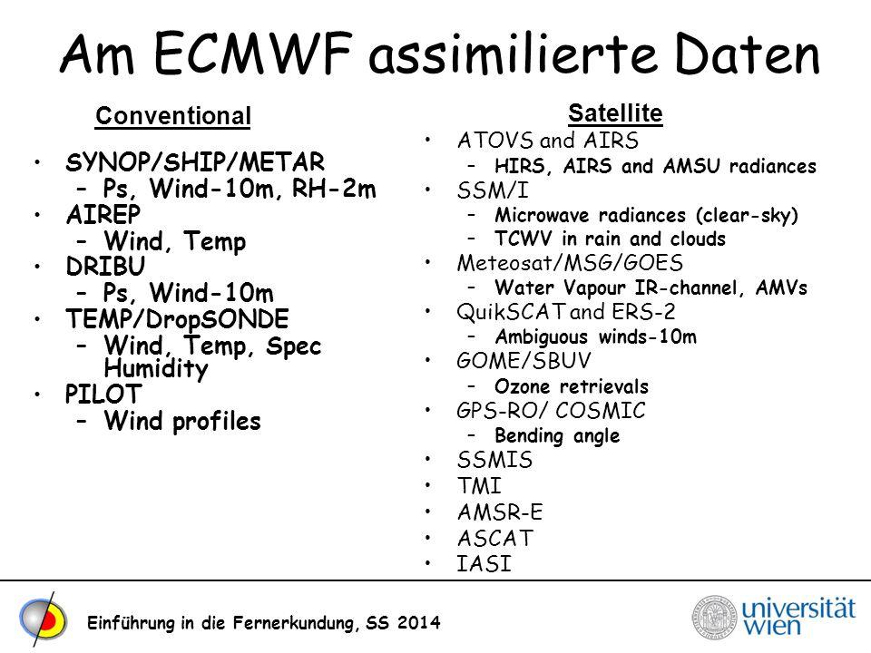 Am ECMWF assimilierte Daten