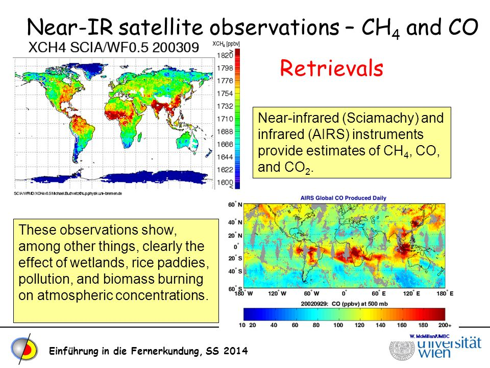 Near-IR satellite observations – CH4 and CO