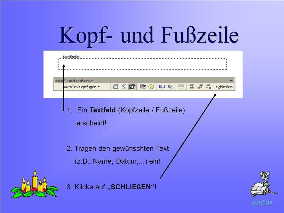 Datei speichern Kopf- und Fußzeile Ein Textfeld (Kopfzeile / Fußzeile)