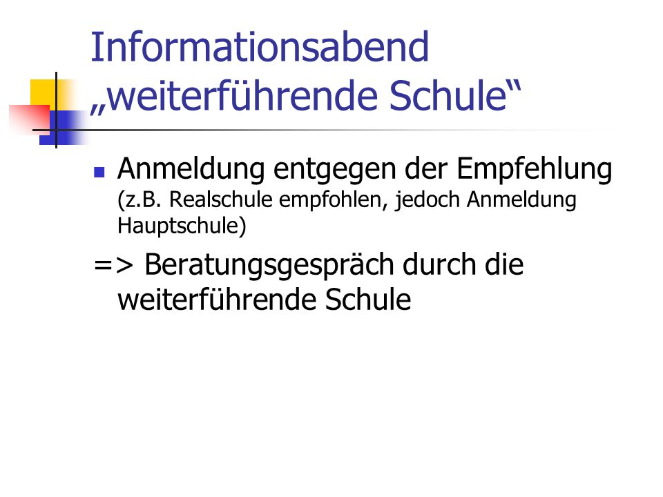 """Informationsabend """"weiterführende Schule"""