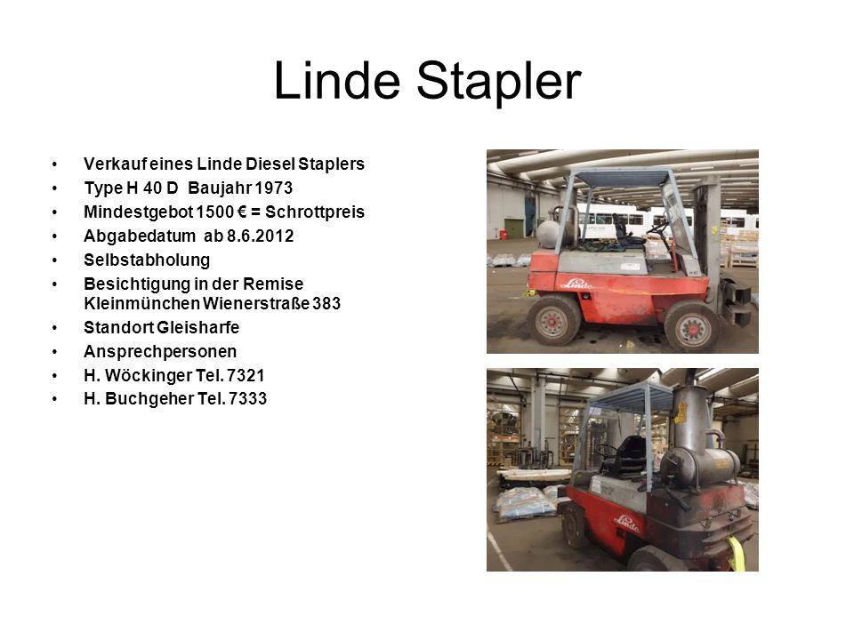 Linde Stapler Verkauf eines Linde Diesel Staplers