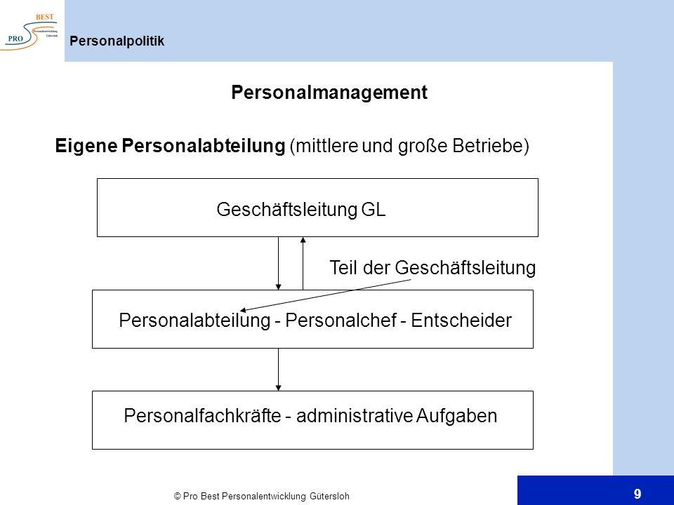Eigene Personalabteilung (mittlere und große Betriebe)
