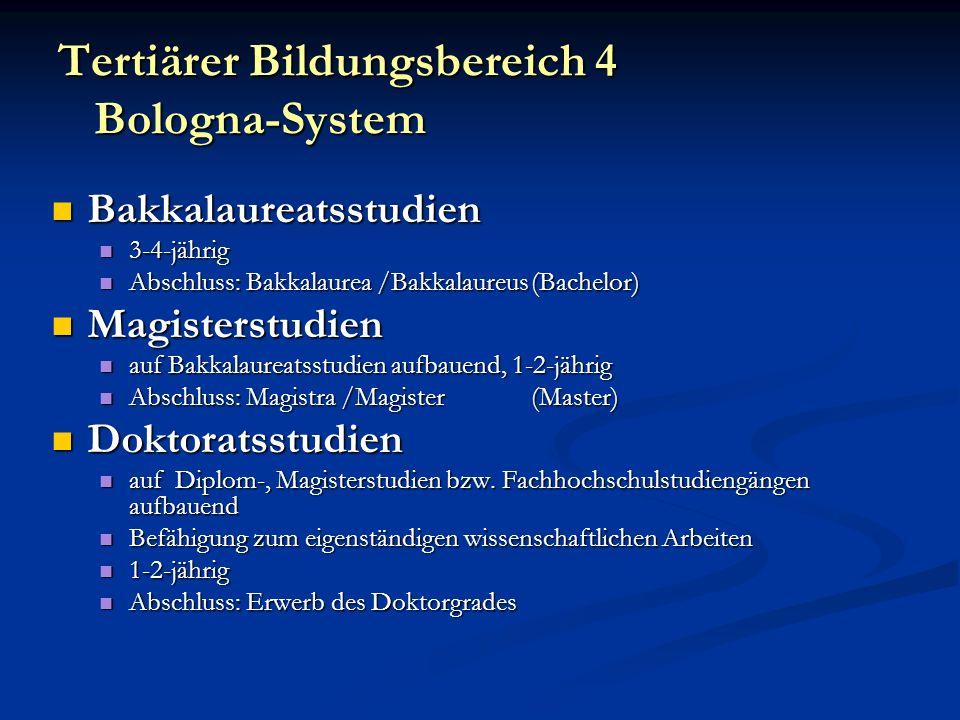 Tertiärer Bildungsbereich 4 Bologna-System