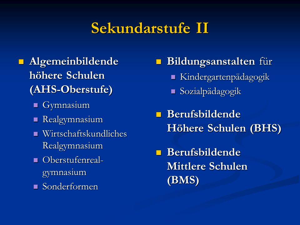 Sekundarstufe II Algemeinbildende höhere Schulen (AHS-Oberstufe)