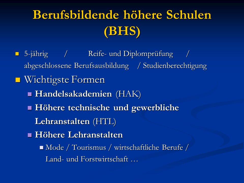 Berufsbildende höhere Schulen (BHS)