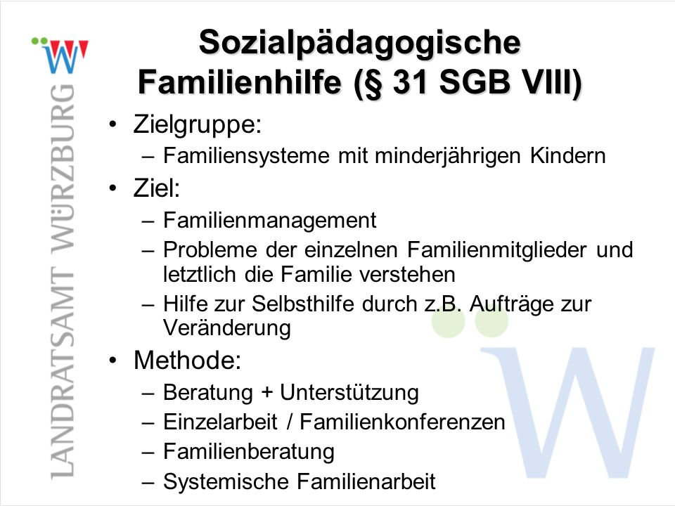 Sozialpädagogische Familienhilfe (§ 31 SGB VIII)