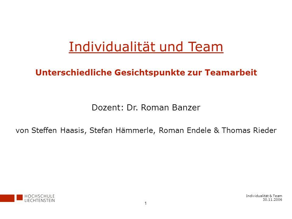 Unterschiedliche Gesichtspunkte zur Teamarbeit