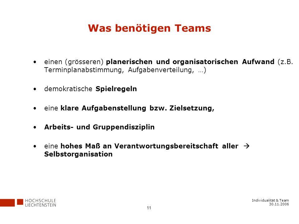 Was benötigen Teams einen (grösseren) planerischen und organisatorischen Aufwand (z.B. Terminplanabstimmung, Aufgabenverteilung, …)