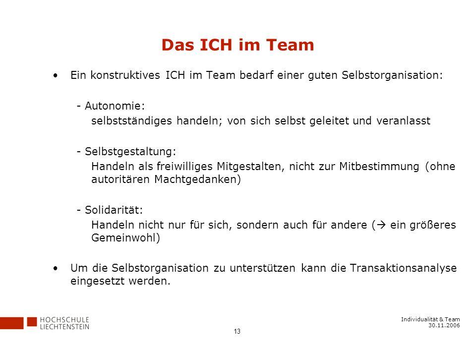 Das ICH im Team Ein konstruktives ICH im Team bedarf einer guten Selbstorganisation: - Autonomie: