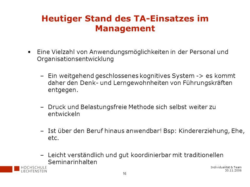 Heutiger Stand des TA-Einsatzes im Management