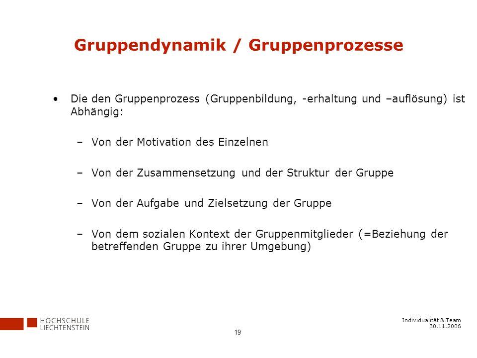 Gruppendynamik / Gruppenprozesse