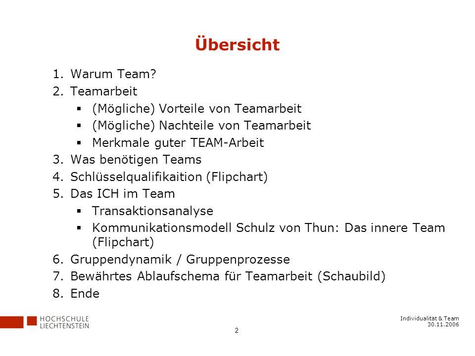 Übersicht Warum Team Teamarbeit (Mögliche) Vorteile von Teamarbeit