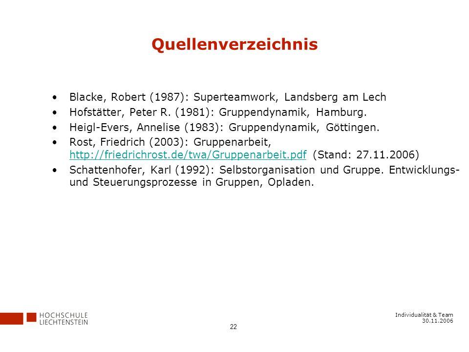Quellenverzeichnis Blacke, Robert (1987): Superteamwork, Landsberg am Lech. Hofstätter, Peter R. (1981): Gruppendynamik, Hamburg.