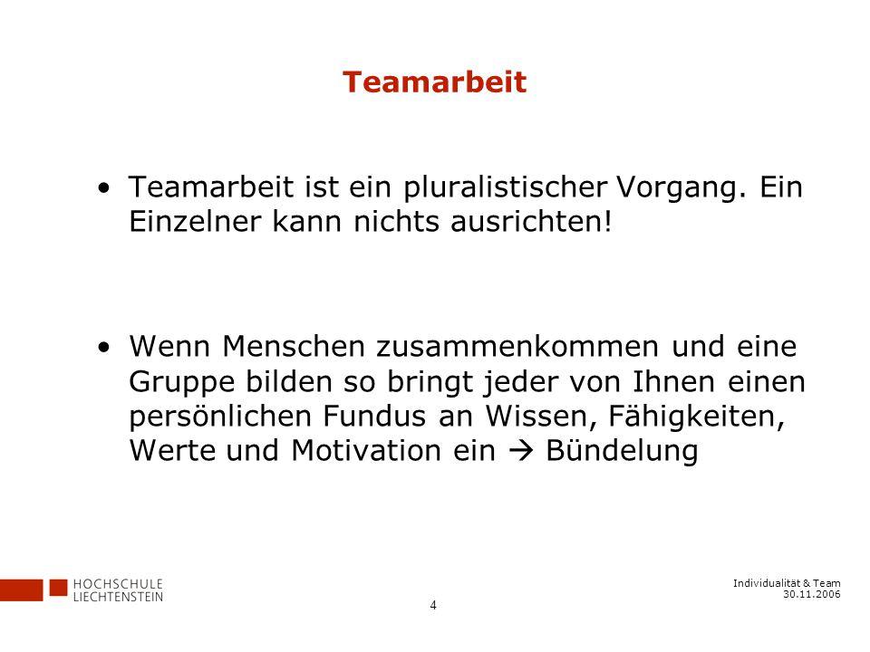 Teamarbeit Teamarbeit ist ein pluralistischer Vorgang. Ein Einzelner kann nichts ausrichten!