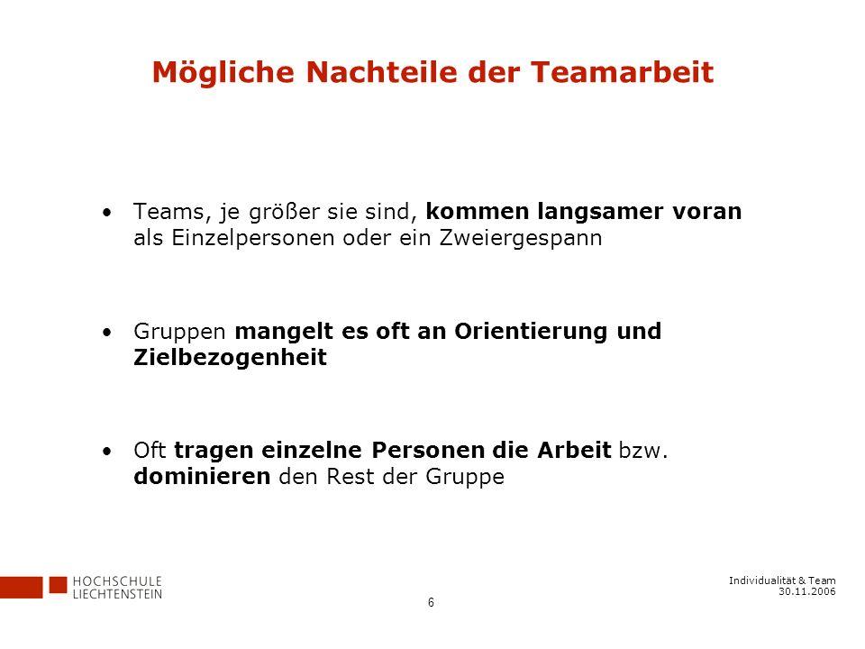 Mögliche Nachteile der Teamarbeit