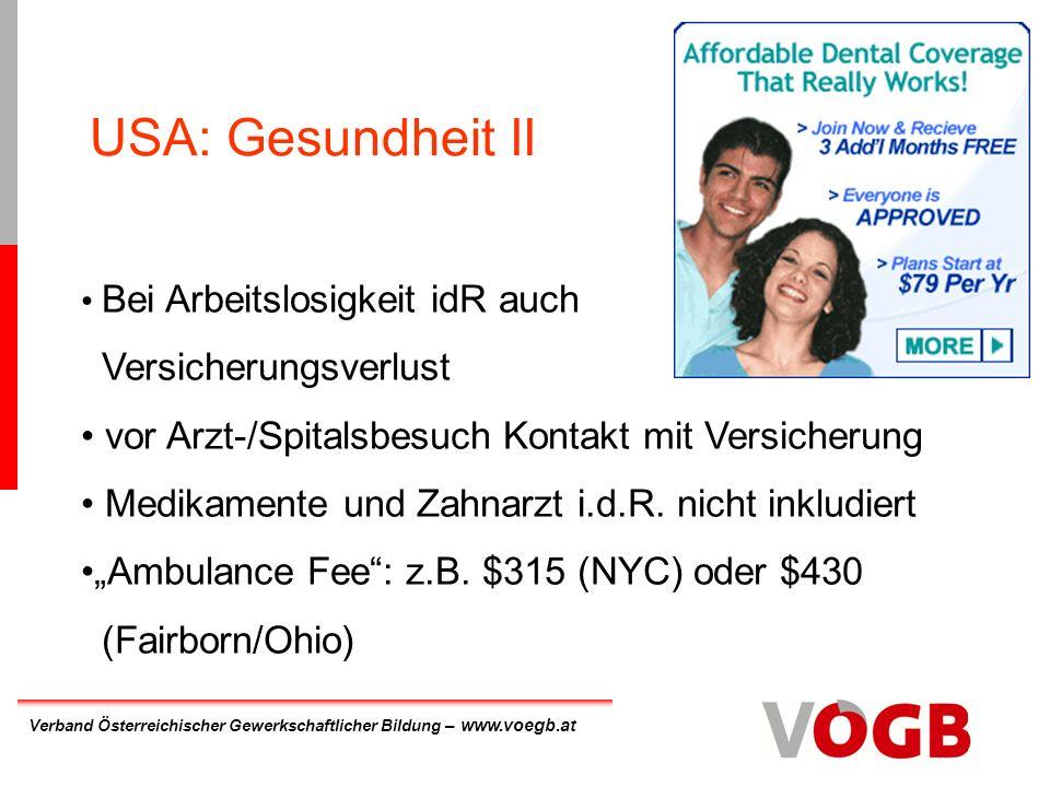 USA: Gesundheit II Versicherungsverlust
