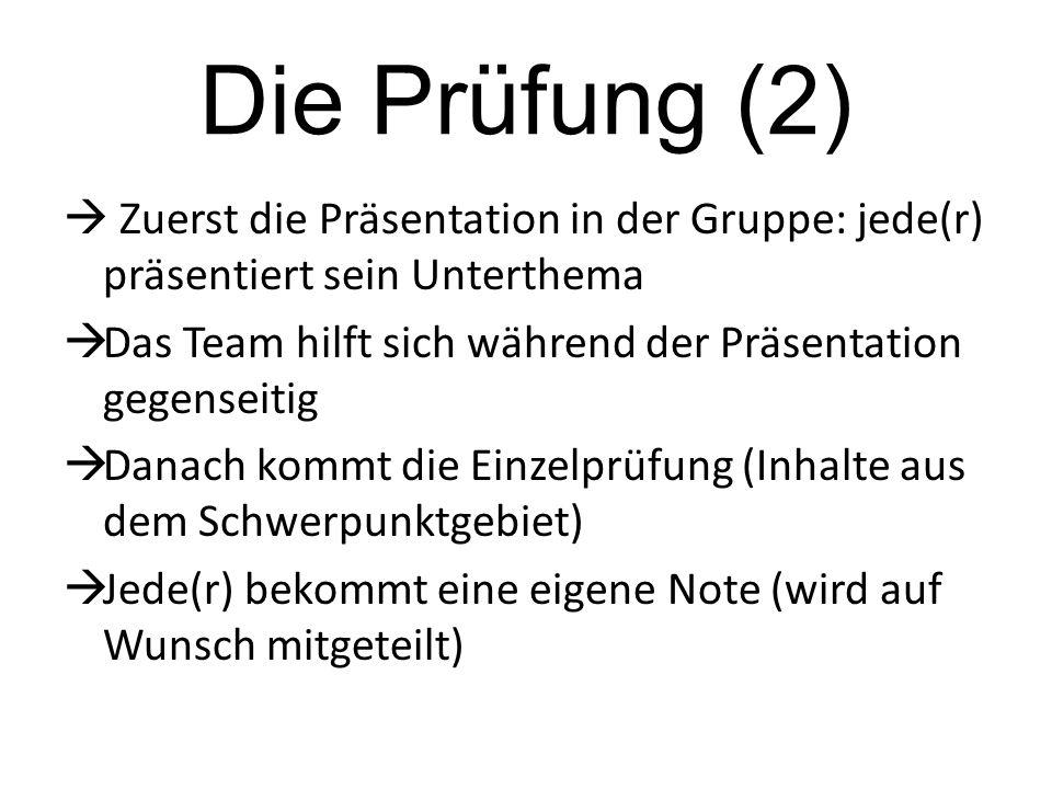 Die Prüfung (2)  Zuerst die Präsentation in der Gruppe: jede(r) präsentiert sein Unterthema.