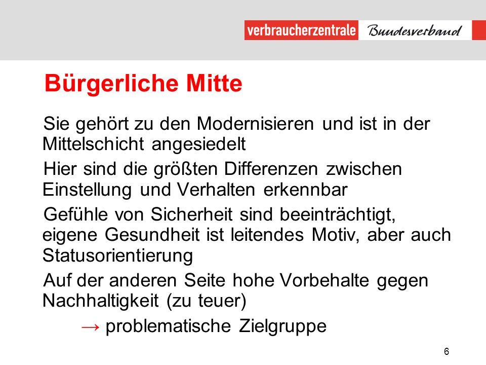 Bürgerliche Mitte Sie gehört zu den Modernisieren und ist in der Mittelschicht angesiedelt.