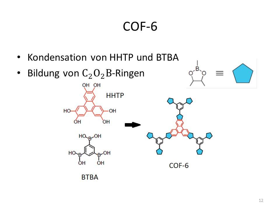 COF-6 Kondensation von HHTP und BTBA Bildung von C 2 O 2 B-Ringen