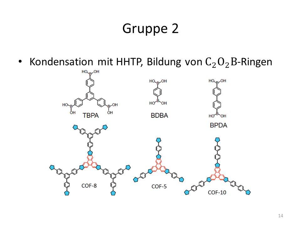Gruppe 2 Kondensation mit HHTP, Bildung von C 2 O 2 B-Ringen
