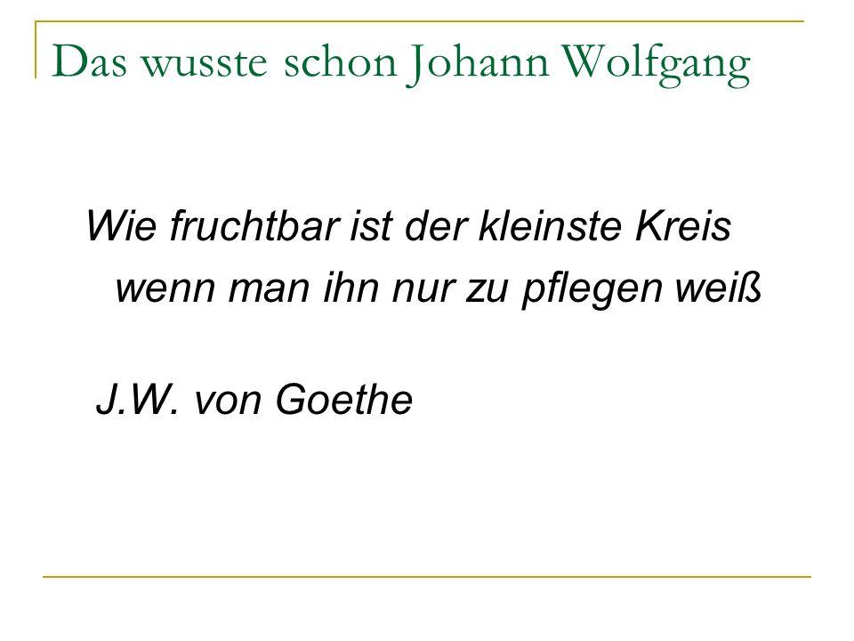 Das wusste schon Johann Wolfgang
