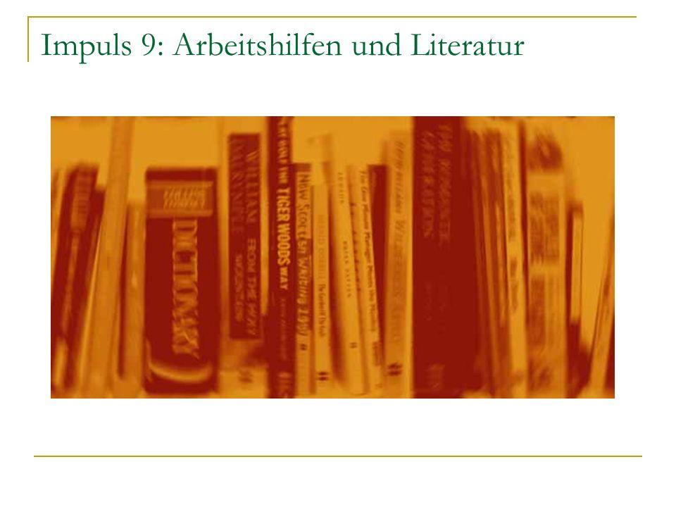 Impuls 9: Arbeitshilfen und Literatur