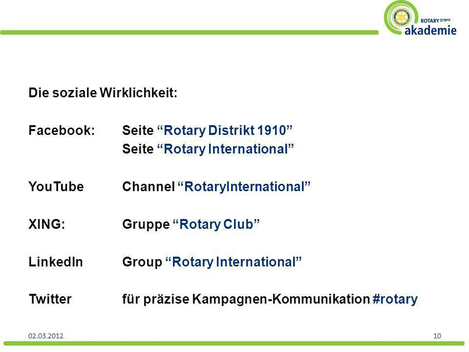 Die soziale Wirklichkeit: Facebook: Seite Rotary Distrikt 1910 Seite Rotary International YouTube Channel RotaryInternational XING: Gruppe Rotary Club LinkedIn Group Rotary International Twitter für präzise Kampagnen-Kommunikation #rotary