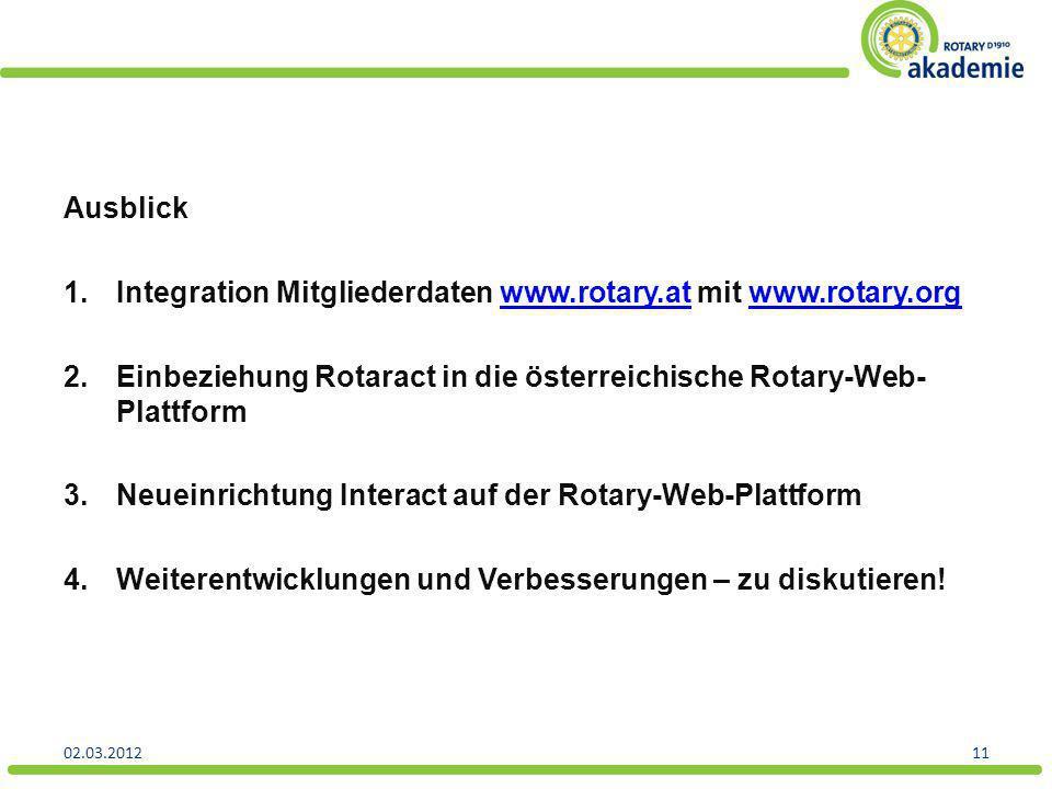 Integration Mitgliederdaten www.rotary.at mit www.rotary.org