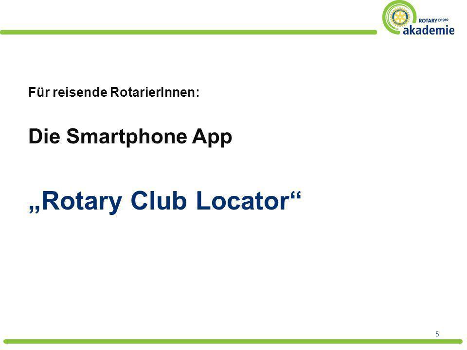 """""""Rotary Club Locator Die Smartphone App Für reisende RotarierInnen:"""