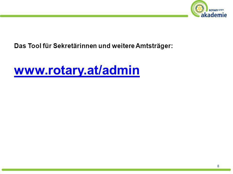 www.rotary.at/admin Das Tool für Sekretärinnen und weitere Amtsträger: