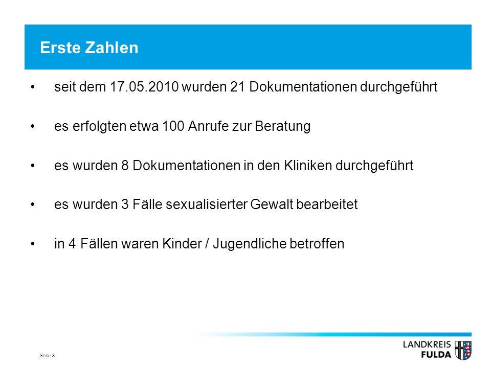 Erste Zahlen seit dem 17.05.2010 wurden 21 Dokumentationen durchgeführt. es erfolgten etwa 100 Anrufe zur Beratung.