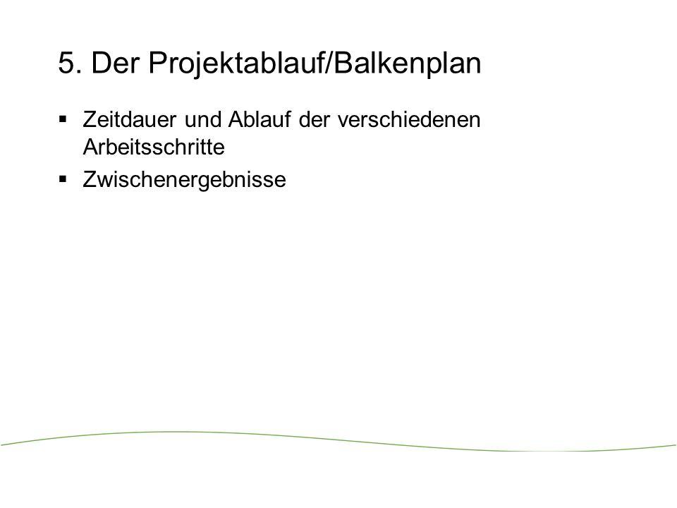 5. Der Projektablauf/Balkenplan